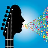 Abstract Guitarist Background. A metaphorical illustrated background of a human face shaped guitar playing colorful musical notes Royalty Free Illustration