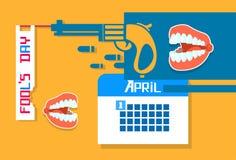 Abstract Gun, Calender, Jaw Teeth Fool Day April Holiday Stock Photo
