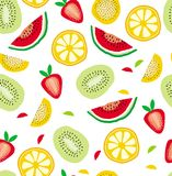 Abstract Half Cut Fruits Vector Pattern.White Background. Infantile Design. stock illustration