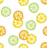 Abstract Half Cut Fruits Vector Pattern. White Background. Abstract half cut fruits vector pattern. Cute green and yellow slices of lime and lemons. White vector illustration