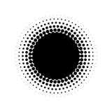 Abstract halftone circle of dots in radial arrangement. Black and white vector illustration element Royalty Free Stock Photos