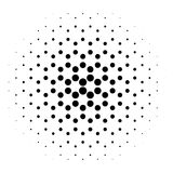 Abstract halftone circle of dots in radial hexagonal. Black and white vector illustration element Stock Image
