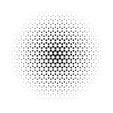 Abstract halftone circle of dots in radial hexagonal. Black and white vector illustration element Royalty Free Stock Photo