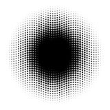 Abstract halftone circle of dots in wavy arrangement. Black and white vector illustration element Stock Images