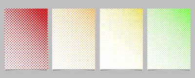 Abstract halftone circle pattern card background template set - vector stationery design with colored dots. Abstract halftone circle pattern card background Stock Photos