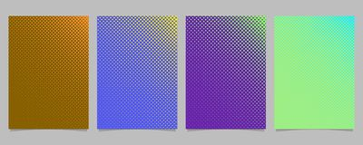 Abstract halftone circle pattern card background template set. Vector stationery graphic designs with colored dots stock illustration