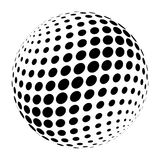 Abstract halftone 3D sphere of circle dots in cross arrangement. Simple modern design vector element in black and white.  Stock Images