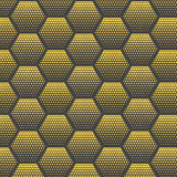 Abstract halftone, minimalist seamless pattern on white background from hexagon. Gradient halftone pop-art retro style. From dots. Template for ad, covers royalty free illustration