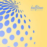 Abstract halftone sphere in blue color on compliment color background Stock Photo