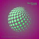 Abstract halftone sphere in green color and complement color background. Abstract halftone sphere in green color  over the center of complement color background Royalty Free Stock Image