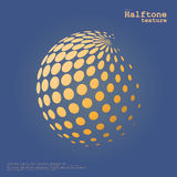 Abstract halftone sphere in orange color and complement color background Stock Photos