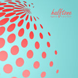 Abstract halftone sphere in red color on compliment color background Stock Photo