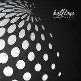 Abstract halftone sphere in white color on black color background Stock Image