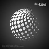 Abstract halftone sphere in white color and black color background. Abstract halftone sphere in white color isolated over the center of black color background Stock Images
