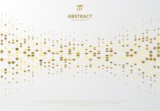 Abstract halftone style gold dots pattern curve on white background. Vector illustration royalty free illustration