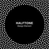 Abstract Halftone Wit Dots Frame op Zwarte Achtergrond Cirkel B Royalty-vrije Stock Afbeelding