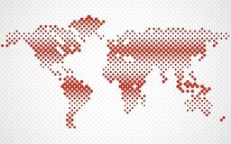 Abstract halftone world map. Dotted map. Vector royalty free illustration