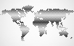 Abstract halftone world map. Dotted map. Vector Royalty Free Stock Images