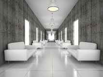 Abstract hall with a concrete wall Royalty Free Stock Image