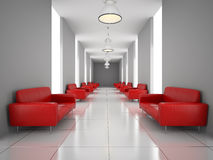 Abstract hall with a red sofa wall Stock Photography