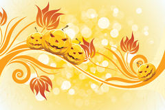 Abstract Halloween Background with Flowers Royalty Free Stock Image