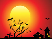 Abstract halloween background with tree Stock Images