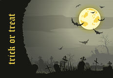 Abstract Halloween night background  with  graveyard Stock Photography