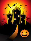 Abstract halloween night with pumpkin. Vector illustration Royalty Free Stock Photos