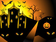 Abstract halloween night with pumpkin. Vector illustration Royalty Free Stock Image