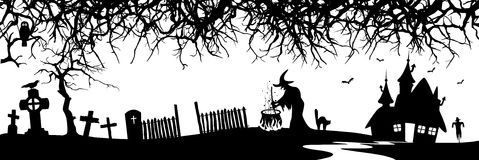 Abstract Halloween Panorama Banner - Silhouette. Branch, Witch, House, Cat, Grave - Black Shapes stock illustration