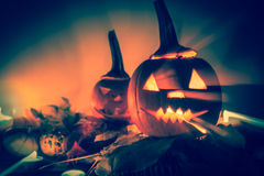 Abstract Halloween pumpkin lanterns dark light angry face fall b Royalty Free Stock Photo