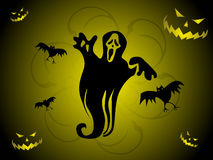 Abstract halloween series5 with ghost and pumpkins Royalty Free Stock Photo