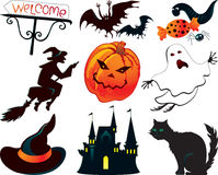 Abstract Halloween symbols. Witch, castle, pumpkin, black cat and others Royalty Free Stock Photos