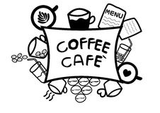 Abstract hand draw doodle line in coffee cafe concept on white background, vector Stock Photos
