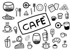 Abstract hand draw doodle line in coffee and food cafe concept Stock Photos