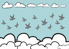 Abstract hand draw doodle sketch birds fly in sky background, vector Stock Photo