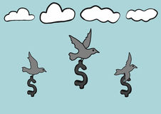 Abstract hand draw doodle sketch dollar sign with birds fly in sky Royalty Free Stock Image