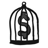 Abstract hand draw doodle sketch money in cage on white background Stock Images