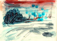 Abstract hand draw paint landscape Royalty Free Stock Photo