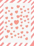 Abstract hand draw pink frame strip with white background and heart shape, illustration, valentine card, copy space for text, wate. Rcolor paint style stock illustration