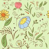 Abstract hand draw seamless flower pattern Royalty Free Stock Photo