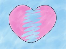 Abstract hand draw sketch doodle broken pink heart shape isolate on blue background, illustration, watercolor paint style, digital. Art, children cartoon book royalty free illustration