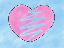 Abstract hand draw sketch doodle broken pink heart shape isolate on blue background, illustration, watercolor paint style, digital
