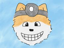 Abstract hand draw sketch doodle doctor pomeranian dog smile face on blue background, illustration, watercolor paint style. Digital art, children cartoon book royalty free illustration