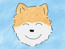 Abstract hand draw sketch doodle pomeranian dog smile face on blue background, illustration, watercolor paint style, digital art. Children cartoon book style vector illustration