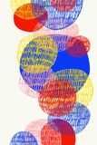 Abstract hand drawing of overlaid, colourful circles. Digital abstract drawing of fun, colourful, overlaid circles on white background stock illustration