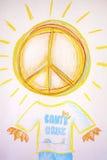Abstract Hand drawing of santa cruz. Sun Royalty Free Stock Photography