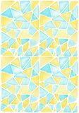 Abstract hand drawing  watercolor pattern with blue yellow geometric shapes triangle. Abstract hand drawing  watercolor painting with blue yellow geometric stock illustration