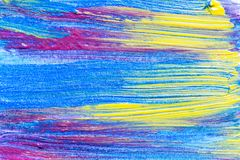Abstract hand drawn acrylic painting creative art background.Clo. Seup shot of brushstrokes colorful acrylic paint on canvas with brush strokes overlap of color Royalty Free Stock Photography