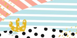 Abstract hand drawn banner background Vector Shapes. Pastel lines, spots, dots scene template. Hand drawn overlapping elements. Pink blue gold black white. Blog royalty free illustration